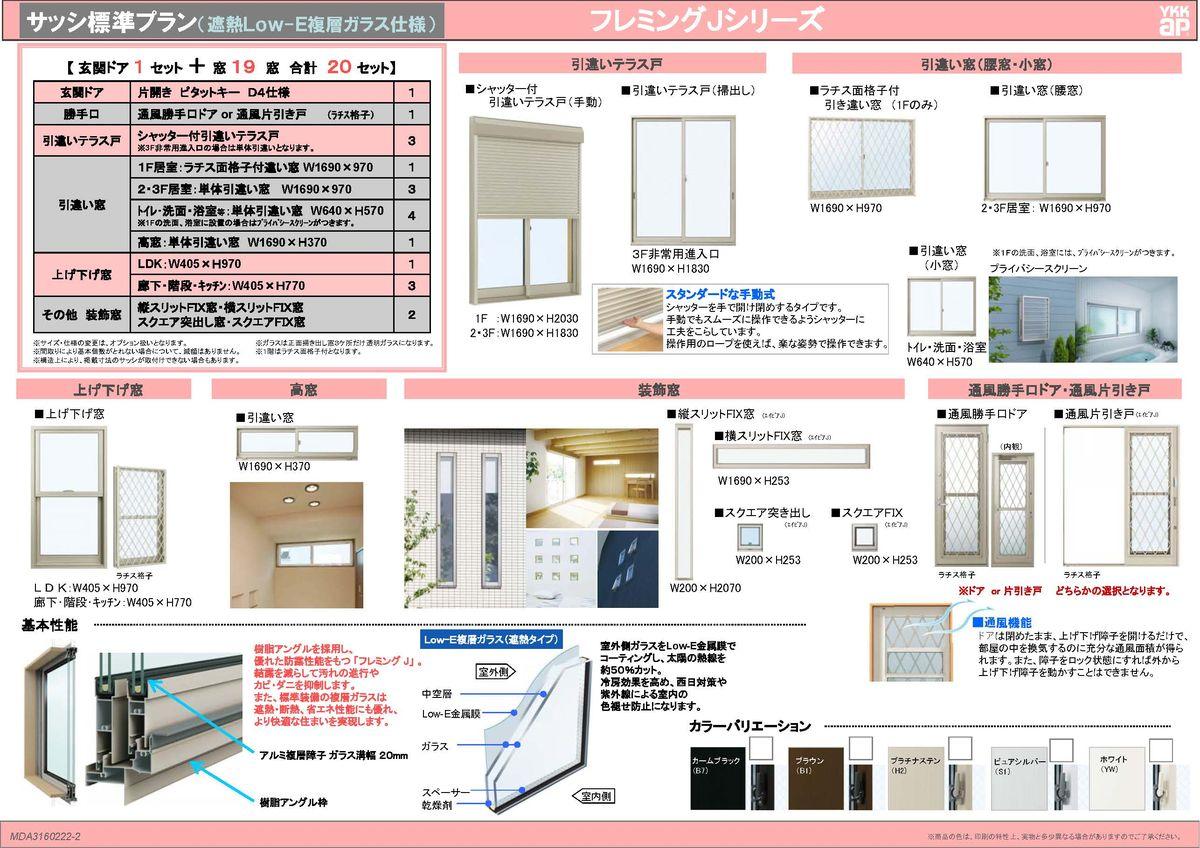 サッシ標準プラン(遮熱Low-E複層ガラス仕様)フレミングJシリーズ